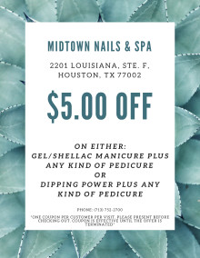 Midtown Nails and Spa $5 COUPON